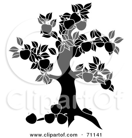 Royalty-Free (RF) Clipart Illustration of a Black Apple Tree Silhouette by Pams Clipart