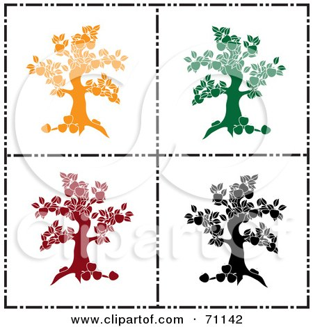 Royalty-Free (RF) Clipart Illustration of a Digital Collage Of Yellow, Green, Red And Black Apple Tree Silhouettes by Pams Clipart