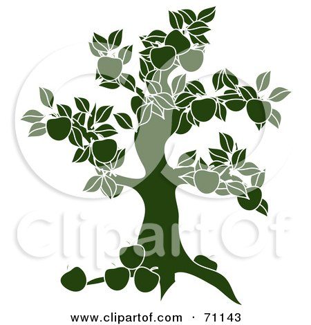 Royalty-Free (RF) Clipart Illustration of a Green Apple Tree Silhouette by Pams Clipart