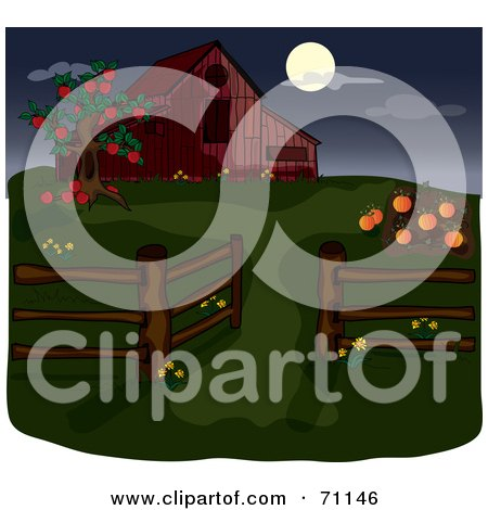 Royalty-Free (RF) Clipart Illustration of an Apple Tree And Pumpkin Patch By A Red Barn During The Night by Pams Clipart