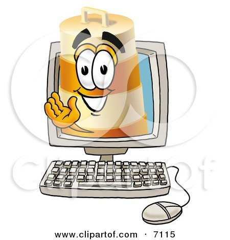 Clipart Picture of a Barrel Mascot Cartoon Character Waving From Inside a Computer Screen by Toons4Biz