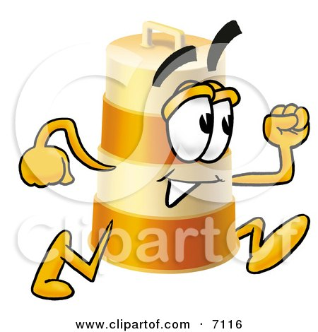 Clipart Picture of a Barrel Mascot Cartoon Character Running by Toons4Biz