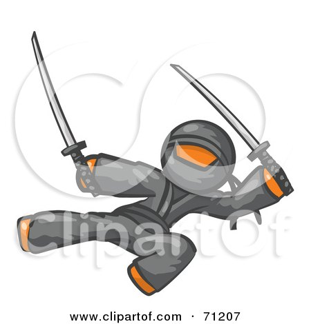 Royalty-Free (RF) Clipart Illustration of an Orange Man Ninja Kicking And Jumping With Swords by Leo Blanchette
