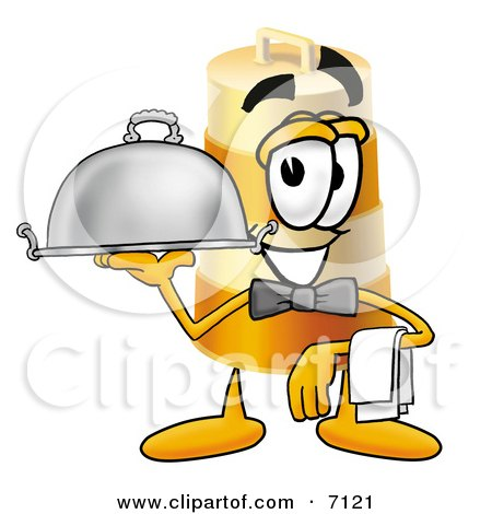 Clipart Picture of a Barrel Mascot Cartoon Character Dressed as a Waiter and Holding a Serving Platter by Toons4Biz