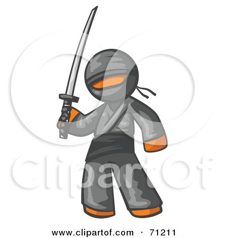 Royalty-Free (RF) Clipart Illustration of an Orange Man Ninja Holding A Sword by Leo Blanchette