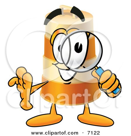 Clipart Picture of a Barrel Mascot Cartoon Character Looking Through a Magnifying Glass by Toons4Biz