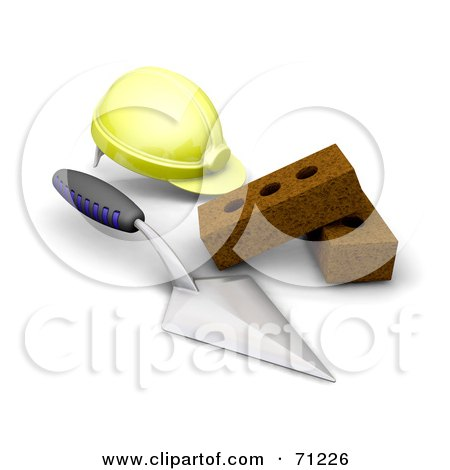 Royalty-Free (RF) Clipart Illustration of a 3d Yellow Hardhat, Trowel And Bricks by KJ Pargeter