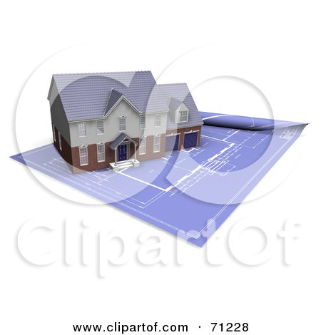 Royalty-Free (RF) Clipart Illustration of a 3d Modern And Custom Home On Rolled Out Blueprints by KJ Pargeter