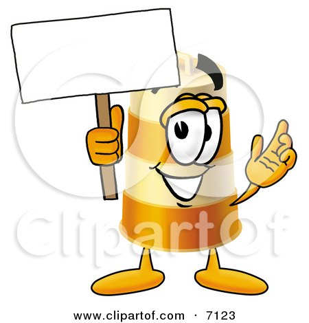 Clipart Picture of a Barrel Mascot Cartoon Character Holding a Blank Sign by Toons4Biz