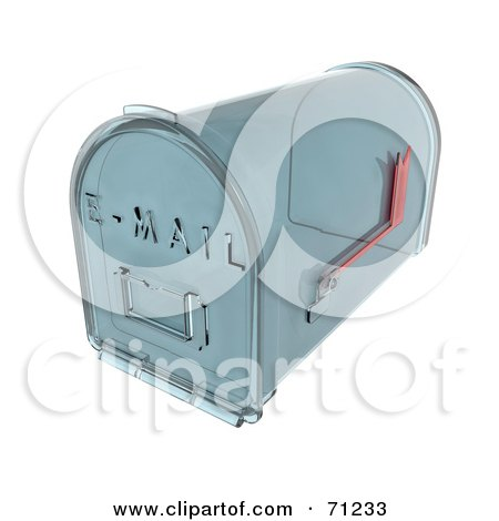 Royalty-Free (RF) Clipart Illustration of a 3d Transparent Glass Mail Box by KJ Pargeter