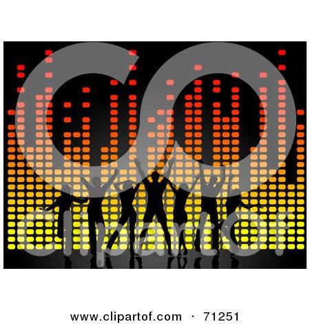 Royalty-Free (RF) Clipart Illustration of Black Dancers Over Colorful Equalizer Lines by KJ Pargeter