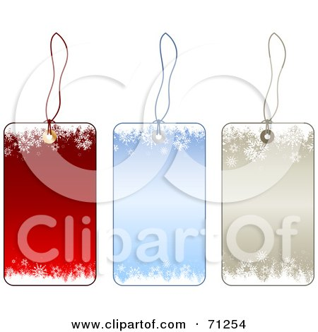 Royalty-Free (RF) Clipart Illustration of a Digital Collage Of Red, Blue And Beige Snowflake Christmas Labels by KJ Pargeter