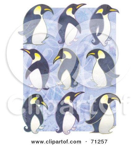 Royalty-Free (RF) Clipart Illustration of Rows Of Waddling Penguins Over Purple by Steve Klinkel