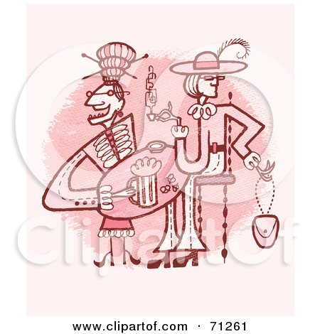 Royalty-Free (RF) Clipart Illustration of Ladies Drinking At A Table by Steve Klinkel
