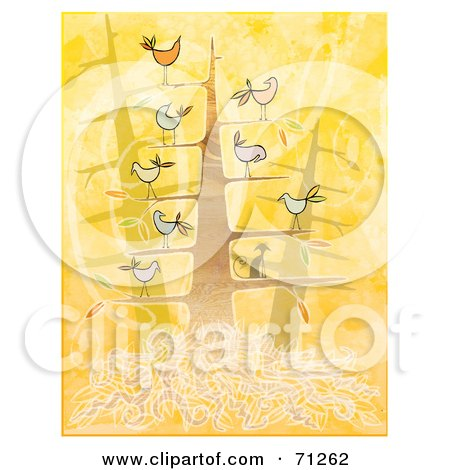 Royalty-Free (RF) Clipart Illustration of a Tree With A Cat And Chatty Birds On The Branches by Steve Klinkel