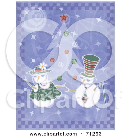 Royalty-Free (RF) Clipart Illustration of a Purple Background With Dancing Snowmen By A Christmas Tree by Steve Klinkel