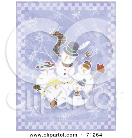 Royalty-Free (RF) Clipart Illustration of a Snowman Family Waving, Over A Purple Background With Snowflakes by Steve Klinkel