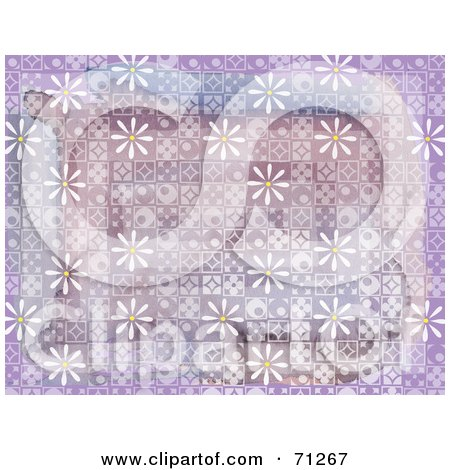 Royalty-Free (RF) Clipart Illustration of a Purple Background Retro Styled Tiles And White Daisies by Steve Klinkel