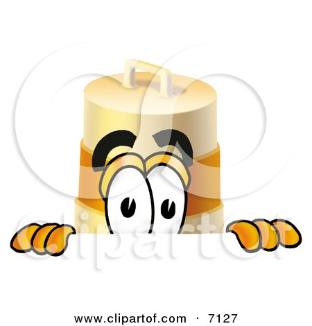 Clipart Picture of a Barrel Mascot Cartoon Character Peeking Over a Surface by Toons4Biz