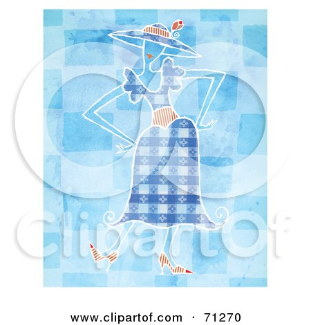 Royalty-Free (RF) Clipart Illustration of a Woman In A Stylish Blue Dress, Standing With Her Hands On Her Hips by Steve Klinkel