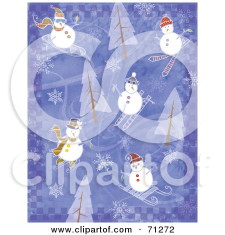 Royalty-Free (RF) Clipart Illustration of a Purple Checkered Background With Trees, Snowflakes And Snowmen by Steve Klinkel