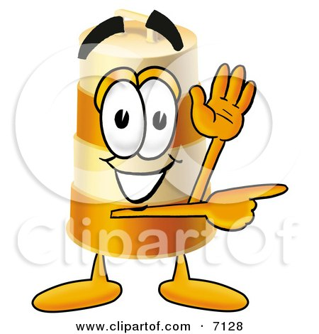 Clipart Picture of a Barrel Mascot Cartoon Character Waving and Pointing by Toons4Biz