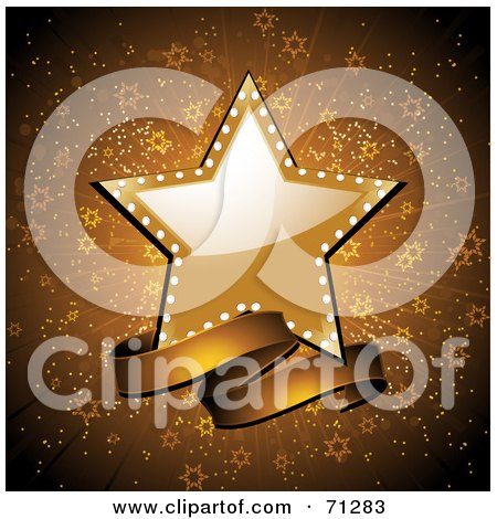 Royalty-Free (RF) Clipart Illustration of a Shiny Star And Banner Over A Gold Starry Burst Background by elaineitalia