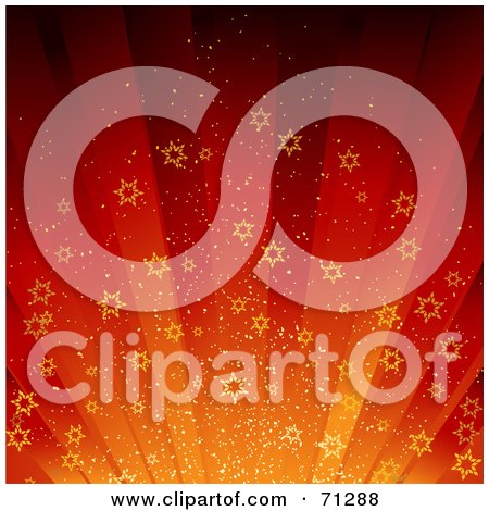 Royalty-Free (RF) Clipart Illustration of a Red And Orange Christmas Starry Burst Background by elaineitalia