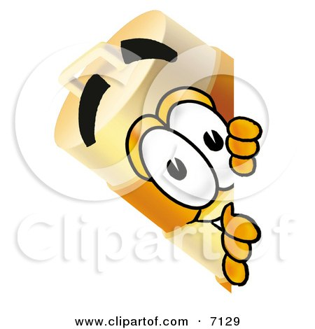Clipart Picture of a Barrel Mascot Cartoon Character Peeking Around a Corner by Toons4Biz