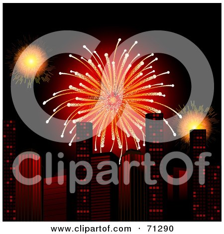 Royalty-Free (RF) Clipart Illustration of a Bright Red Firework Bursting Over Urban Skyscrapers by elaineitalia
