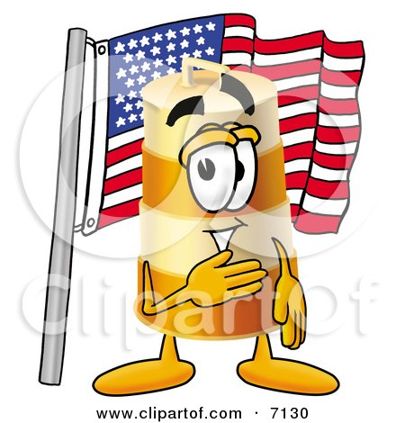 Clipart Picture of a Barrel Mascot Cartoon Character Pledging Allegiance to an American Flag by Toons4Biz