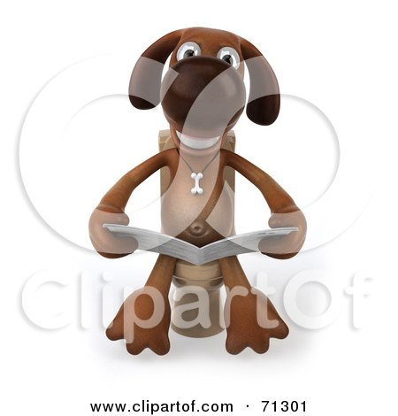 Royalty-Free (RF) Clipart Illustration of a 3d Brown Pooch Character Reading On A Toilet - Pose 1 by Julos