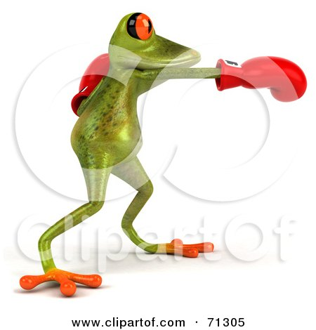Royalty-Free (RF) Clipart Illustration of a 3d Green Poison Dart Frog Wearing Boxing Gloves - Pose 2 by Julos