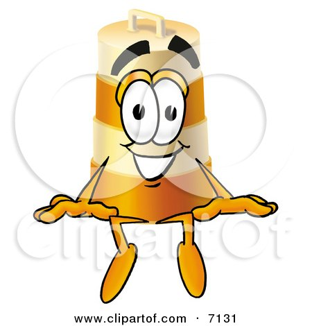 Clipart Picture of a Barrel Mascot Cartoon Character Sitting by Toons4Biz