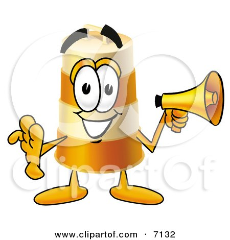 Clipart Picture of a Barrel Mascot Cartoon Character Holding a Megaphone by Toons4Biz