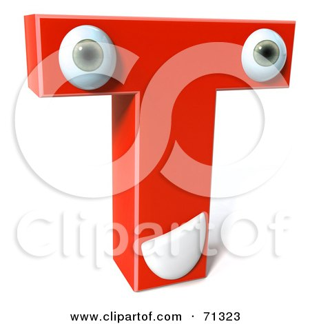 Royalty-Free (RF) Clipart Illustration of a 3d Red Character Letter T by Julos