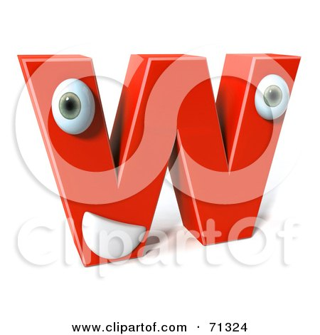 Royalty-Free (RF) Clipart Illustration of a 3d Red Character Letter W by Julos