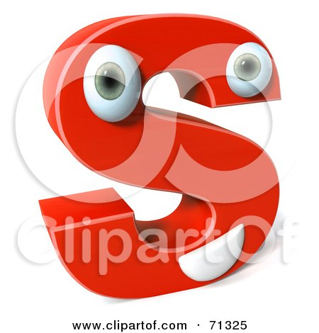 Royalty-Free (RF) Clipart Illustration of a 3d Red Character Letter S by Julos