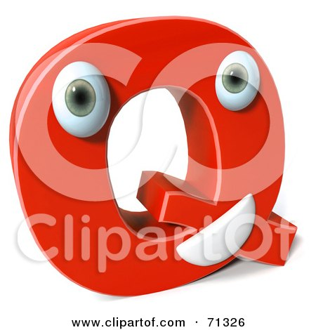 Royalty-Free (RF) Clipart Illustration of a 3d Red Character Letter Q by Julos