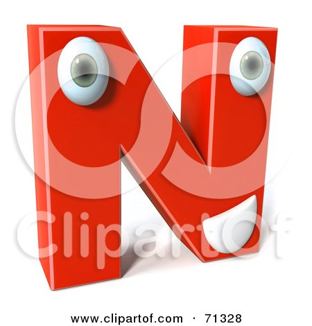 Royalty-Free (RF) Clipart Illustration of a 3d Red Character Letter N by Julos