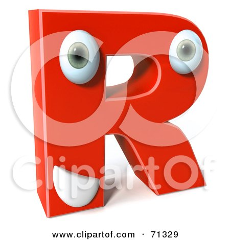 Royalty-Free (RF) Clipart Illustration of a 3d Red Character Letter R by Julos