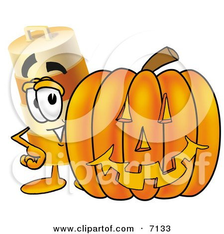 Clipart Picture of a Barrel Mascot Cartoon Character With a Carved Halloween Pumpkin by Toons4Biz