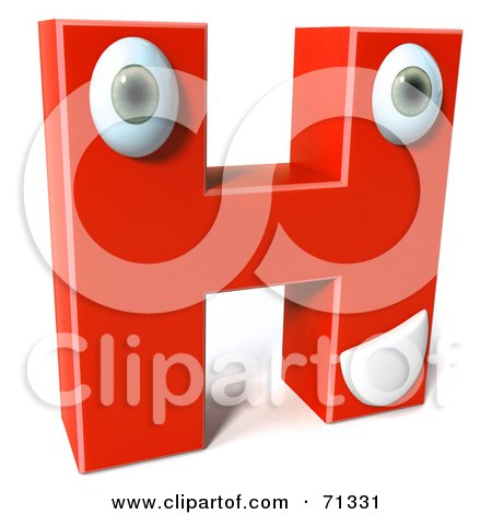 Royalty-Free (RF) Clipart Illustration of a 3d Red Character Letter H by Julos
