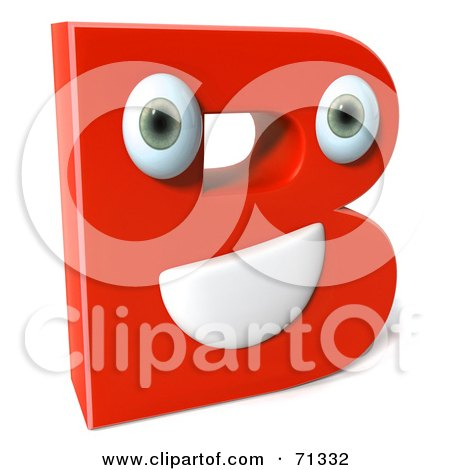 Royalty-Free (RF) Clipart Illustration of a 3d Red Character Letter B by Julos