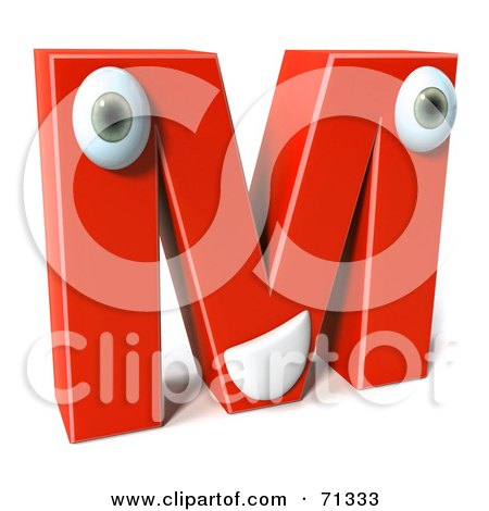 Royalty-Free (RF) Clipart Illustration of a 3d Red Character Letter M by Julos