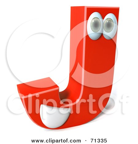 Royalty-Free (RF) Clipart Illustration of a 3d Red Character Letter J by Julos