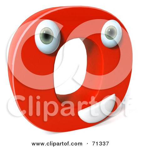 Royalty-Free (RF) Clipart Illustration of a 3d Red Character Letter O by Julos