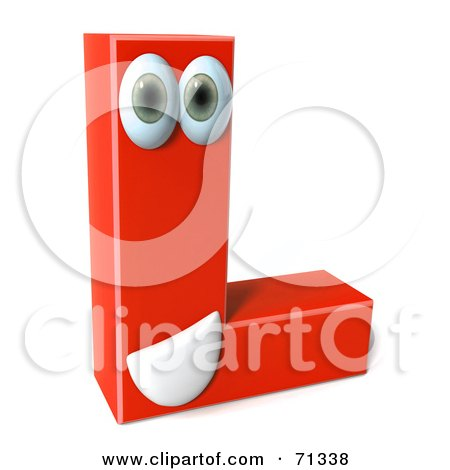 Royalty-Free (RF) Clipart Illustration of a 3d Red Character Letter L by Julos