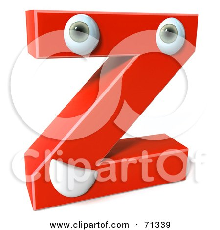 Royalty-Free (RF) Clipart Illustration of a 3d Red Character Letter Z by Julos