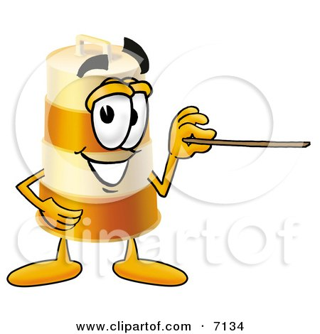 Clipart Picture of a Barrel Mascot Cartoon Character Holding a Pointer Stick by Toons4Biz